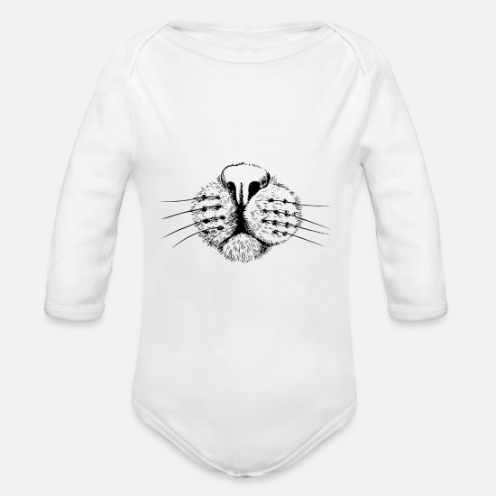 Creative Baby Clothing - Cat nose - Organic Long-Sleeved Baby Bodysuit white