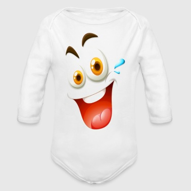 Happy Face - Organic Long Sleeve Baby Bodysuit