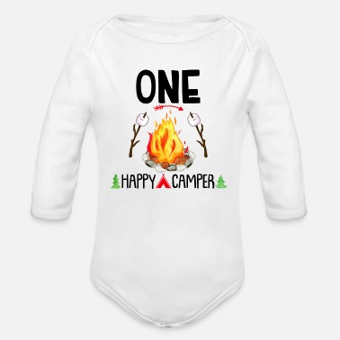 One Happy Camper First Birthday Onesie,Camping - Organic Long-Sleeved Baby Bodysuit