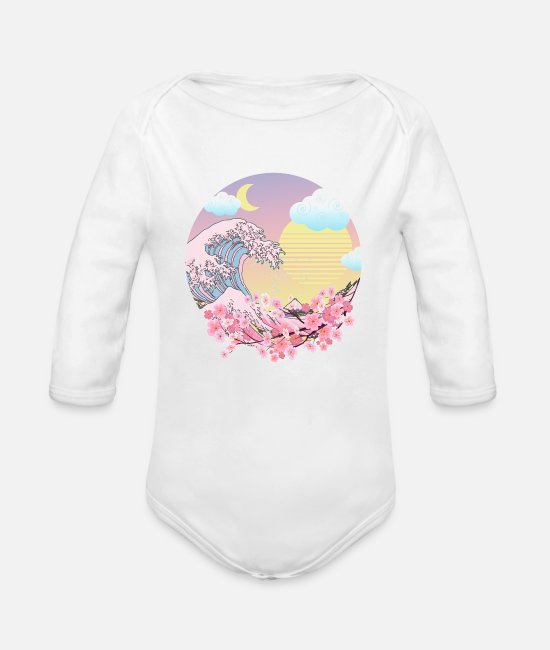 Wave Baby One Pieces - Vaporwave Pastel Goth - Organic Long-Sleeved Baby Bodysuit white