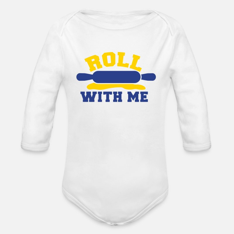 Lets Roll Baby Clothing - roll with me rolling pin baking humour - Long-Sleeved Baby Bodysuit white