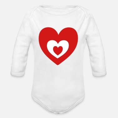 Heart Heart in heart - Organic Long Sleeve Baby Bodysuit