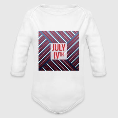 4th of July, July IVth - Organic Long Sleeve Baby Bodysuit