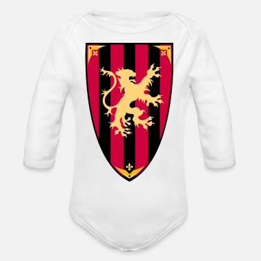 Medieval Medieval lion shield heraldic vector drawing image - Organic Long-Sleeved Baby Bodysuit