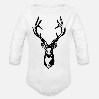 Red Deer Deer - Roe deer - Red deer - Hunting - Organic Long-Sleeved Baby Bodysuit
