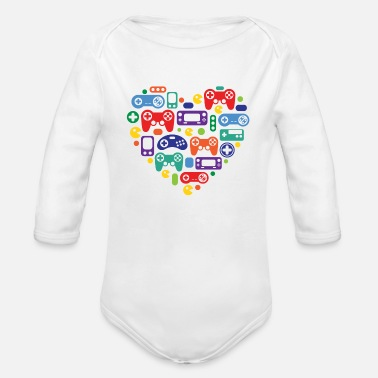 Video Games Video Game Love - Organic Long-Sleeved Baby Bodysuit