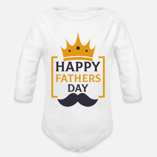 Father's Day Baby Clothing - fathers day - Organic Long-Sleeved Baby Bodysuit white