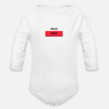 Power Press Press Power Gaming Console Gamer Button - Organic Long-Sleeved Baby Bodysuit