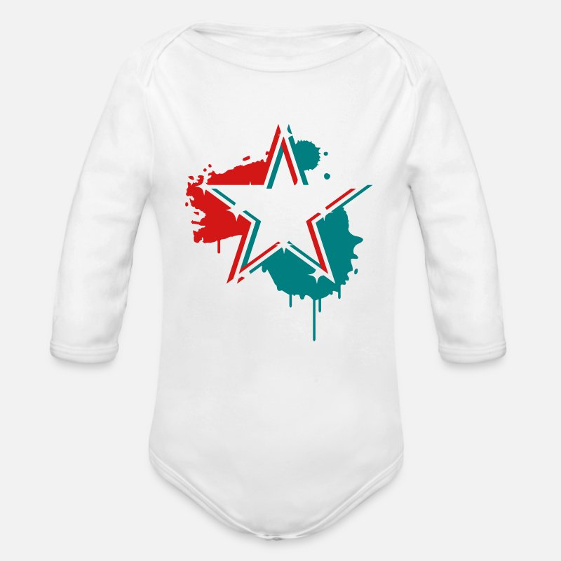 Design Baby Clothing - 3D graffiti star design  - Long-Sleeved Baby Bodysuit white