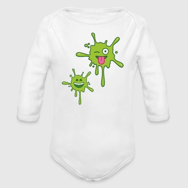 Green Stains Emojis V2 - Long Sleeve Baby Bodysuit