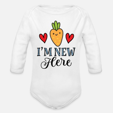 Baby Shower Im New Here Baby Carrot - Organic Long-Sleeved Baby Bodysuit