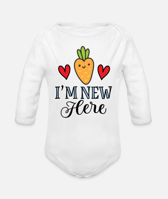 New Baby One Pieces - Im New Here Baby Carrot - Organic Long-Sleeved Baby Bodysuit white