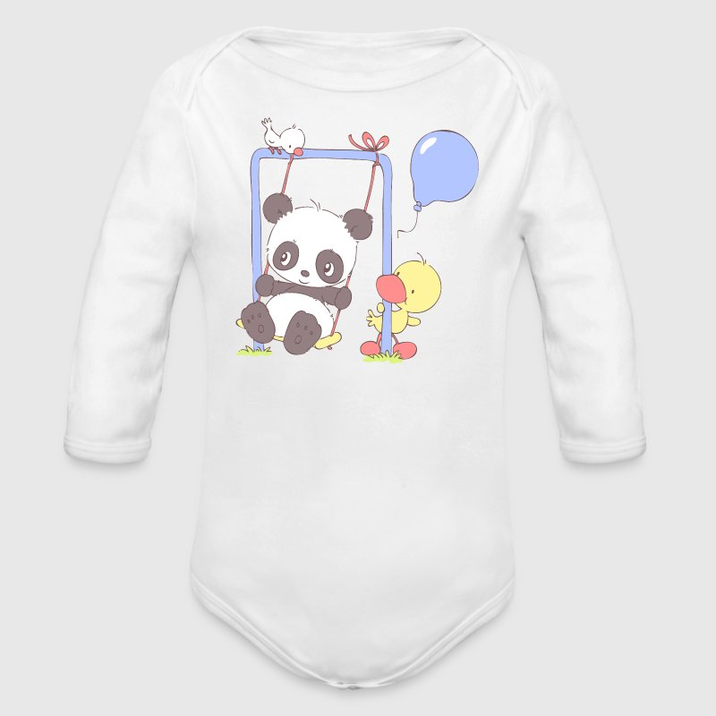 Cute Panda Bear on Swing - Organic Long Sleeve Baby Bodysuit
