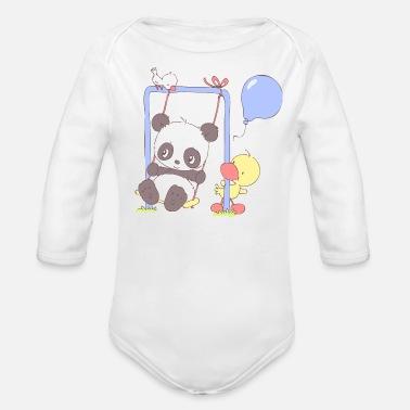 fcd3eba33afe Cute Panda Bear on Swing - Organic Long-Sleeved Baby Bodysuit