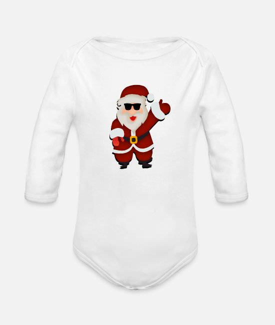 Christmas Baby One Pieces - Santa Claus - Organic Long-Sleeved Baby Bodysuit white