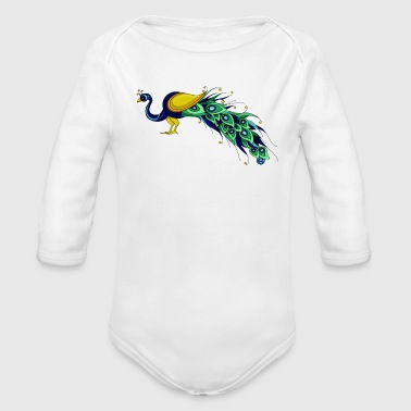 EWD Peacock - Organic Long Sleeve Baby Bodysuit