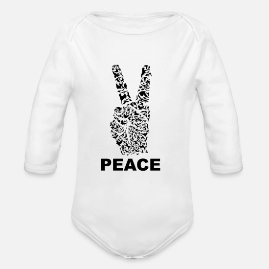 Peace Sign Baby Clothing - PEACE | Dove Of Peace - Organic Long-Sleeved Baby Bodysuit white
