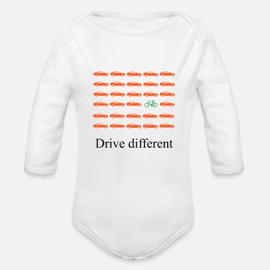 Drive Go By Car Drive different: Car or bike - Organic Long Sleeve Baby Bodysuit