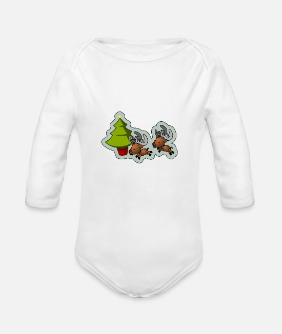 Stag Baby One Pieces - Christmas Bithday B-Day bday BDay X-Mas XMAS xmas - Organic Long-Sleeved Baby Bodysuit white