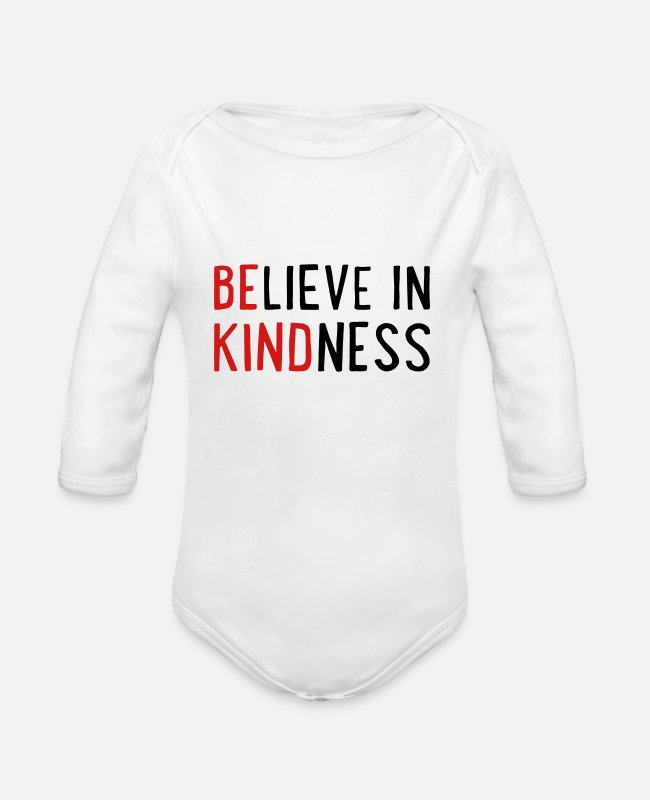 Optimist Baby One Pieces - Be kind - believe in kindness - Organic Long-Sleeved Baby Bodysuit white