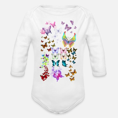 Butterflies Butterfly - Organic Long-Sleeved Baby Bodysuit