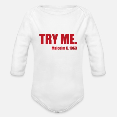 Muscles Try me gift fitness gym sport - Organic Long-Sleeved Baby Bodysuit