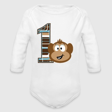 1st Birthday Monkey - Organic Long Sleeve Baby Bodysuit