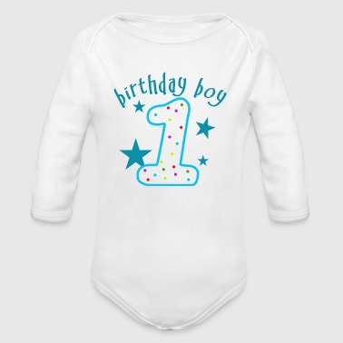 1st Birthday Boy - Organic Long Sleeve Baby Bodysuit