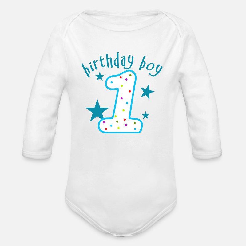 1st Birthday Baby Clothing - 1st Birthday Boy - Organic Long-Sleeved Baby Bodysuit white