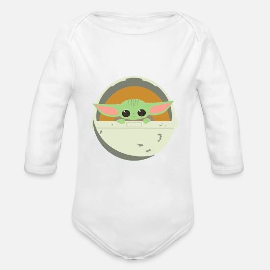 Yoda Baby Clothing - Baby Yoda- Desing- - Organic Long-Sleeved Baby Bodysuit white