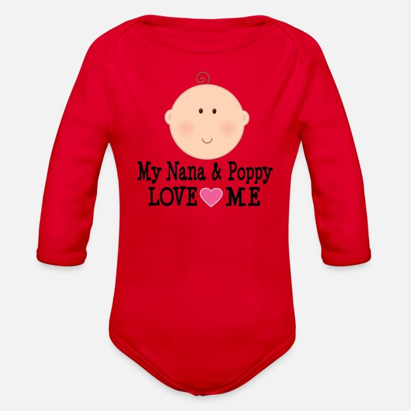 Nana and Poppy Love Me Organic Long Sleeve Baby Bodysuit - red