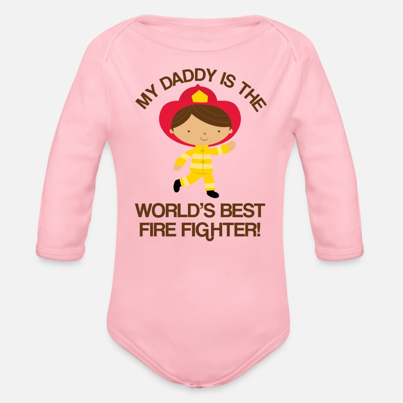 7e7afcaf Firefighter Daddy Kids Gift Organic Long-Sleeved Baby Bodysuit | Spreadshirt