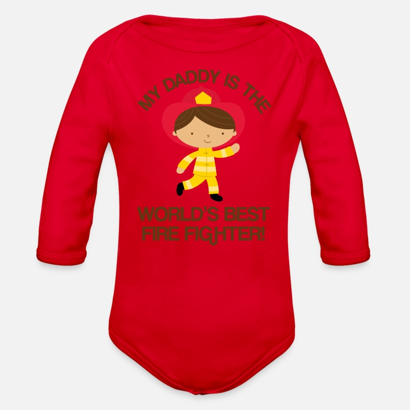 a0774157c Firefighter Daddy Kids Gift Organic Long-Sleeved Baby Bodysuit | Spreadshirt