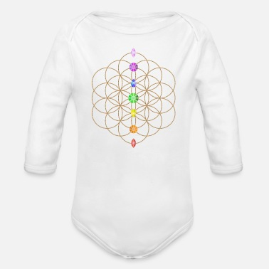 Life Flower Flower Of Life With Chakra Stones - Organic Long Sleeve Baby Bodysuit