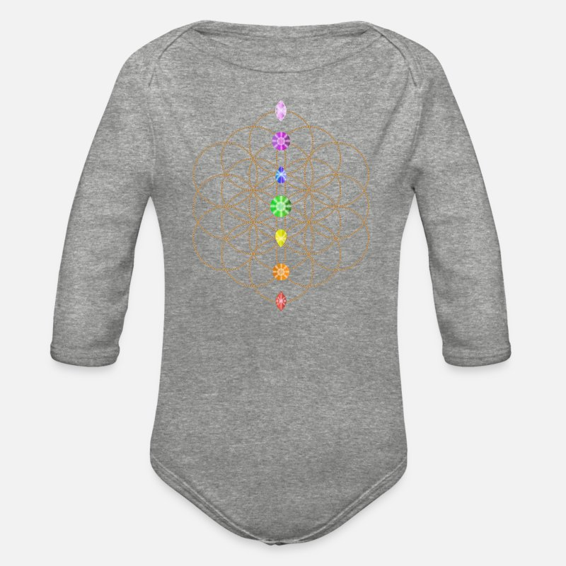 Flower Of Life With Chakra Stones Organic Long Sleeve Baby Bodysuit -  heather gray