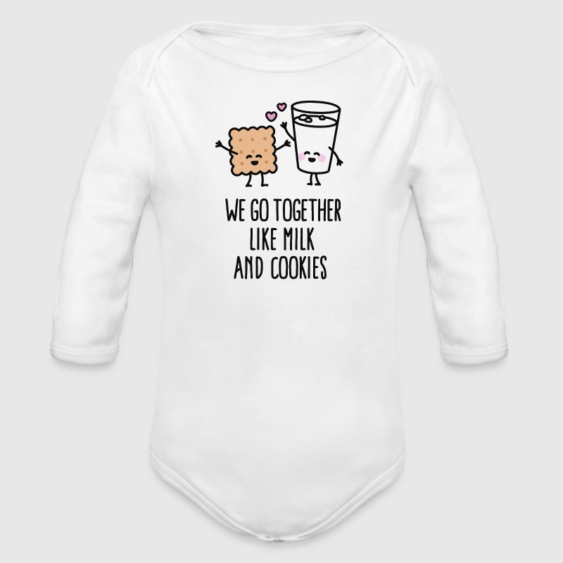 We go together like milk and cookies - Organic Long Sleeve Baby Bodysuit