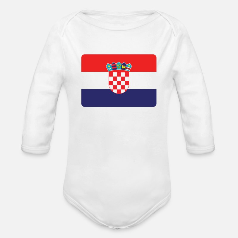 Croatia Baby Clothing - CROATIA IS THE NUMBER 1 - Organic Long-Sleeved Baby Bodysuit white