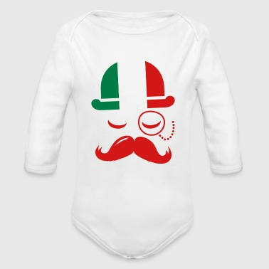 Italian nation fashionable vintage iconic gentleman with flag and Moustache olympics sports italy country - Organic Long Sleeve Baby Bodysuit