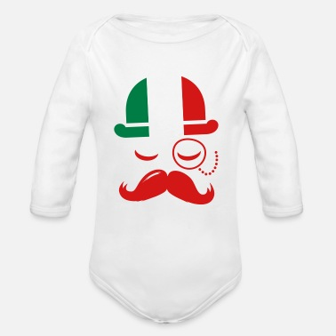 Milan Italian nation fashionable vintage iconic gentleman with flag and Moustache olympics sports italy country - Organic Long Sleeve Baby Bodysuit