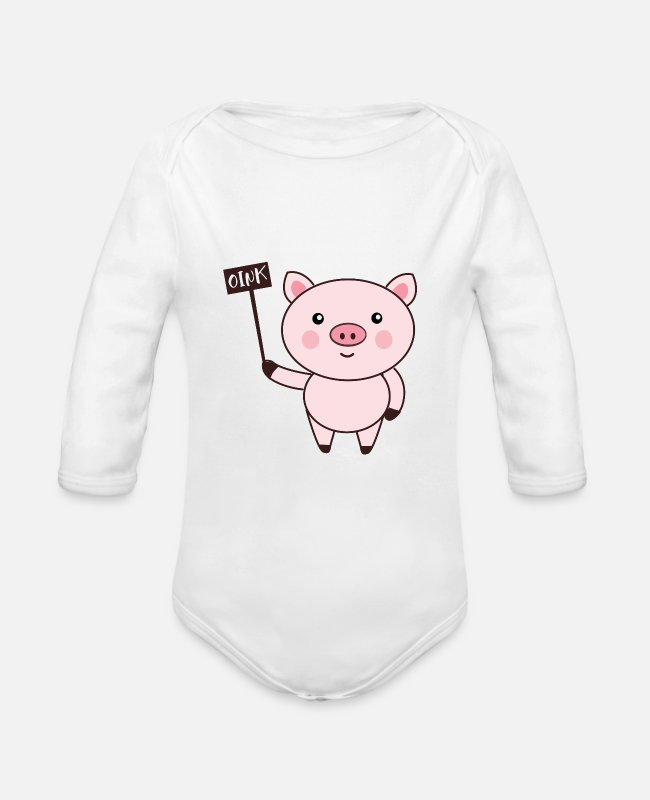 Nature Baby One Pieces - Pig Oink - Organic Long-Sleeved Baby Bodysuit white