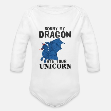 Dragon Unicorn Dragons Unicorns Funny - Organic Long-Sleeved Baby Bodysuit
