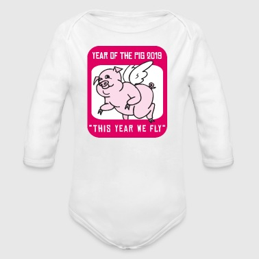 2019 Year Of The Pig - Organic Long Sleeve Baby Bodysuit