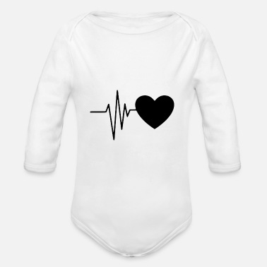 Heart Heart line / heartbeat with heart symbol - Organic Long-Sleeved Baby Bodysuit