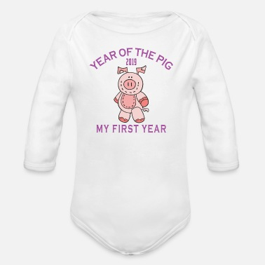 1971 Born 2019 Year of The Pig - Organic Long Sleeve Baby Bodysuit
