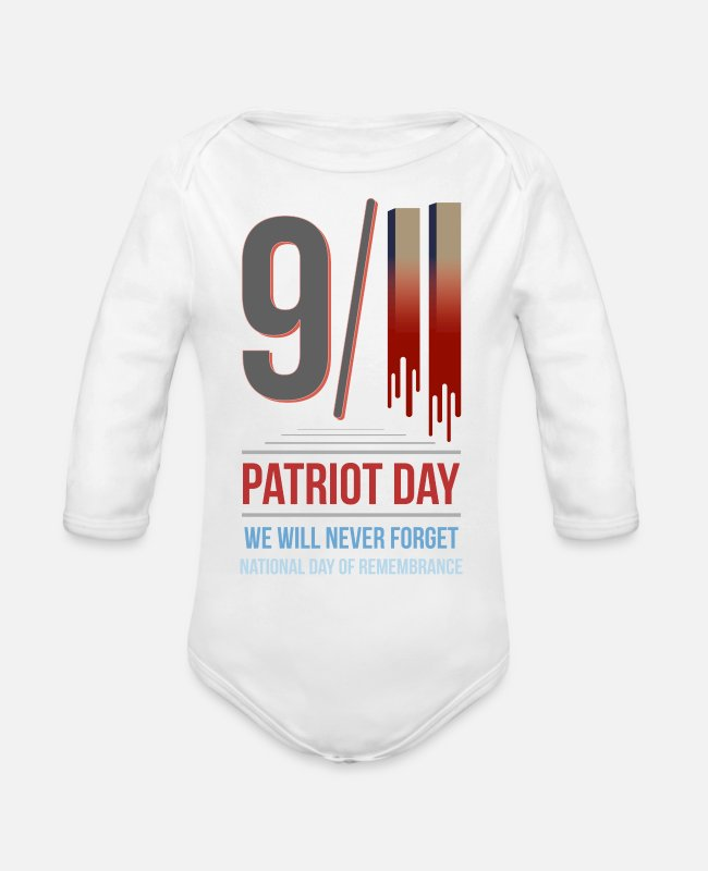 World Trade Center Twin Towers Baby One Pieces - 9-11-2001 We Will Never Forget - Patriot Day - Organic Long-Sleeved Baby Bodysuit white