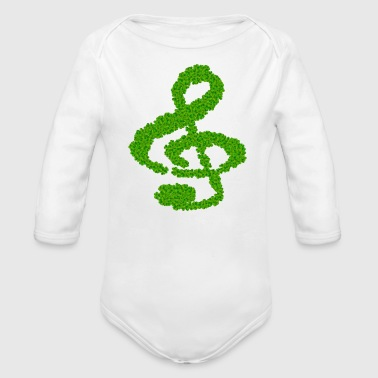 Note Clue music note clef cloverleaf - Organic Long Sleeve Baby Bodysuit