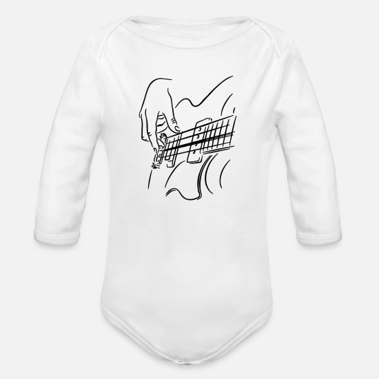 Bass Player Baby Clothing - Guitar Guitar Player Guitars Gift - Organic Long-Sleeved Baby Bodysuit white