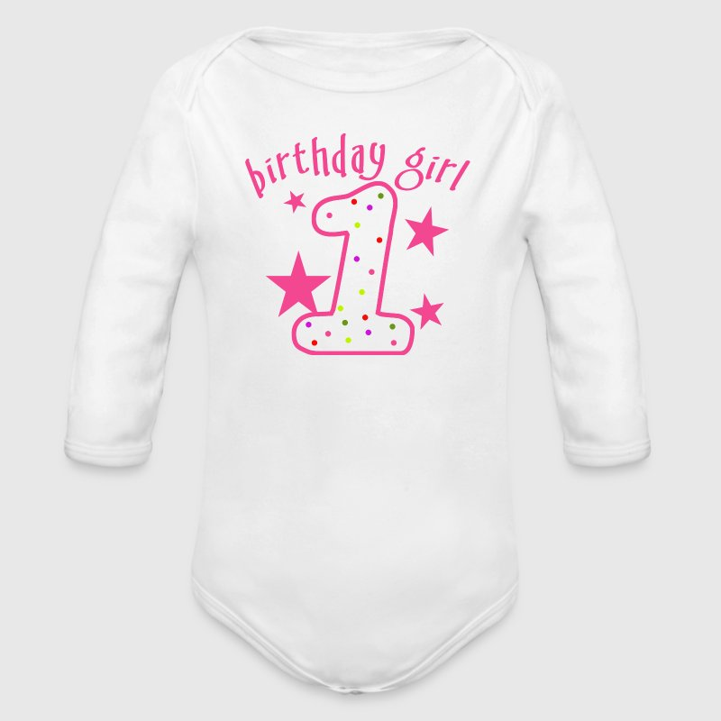 1st Birthday Girl Stars - Long Sleeve Baby Bodysuit