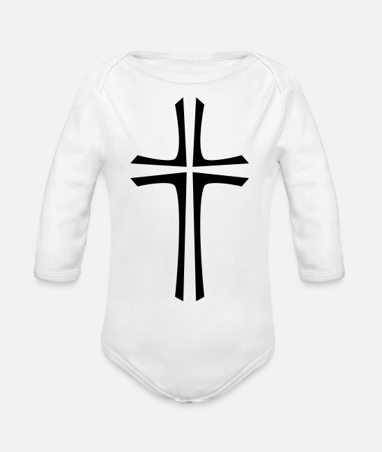 Pope Baby One Pieces - 2541614 113718452 Kreuz - Organic Long-Sleeved Baby Bodysuit white