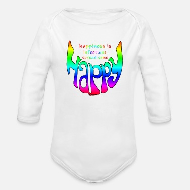 Infectious happy smile, happiness is infectious - Organic Long-Sleeved Baby Bodysuit